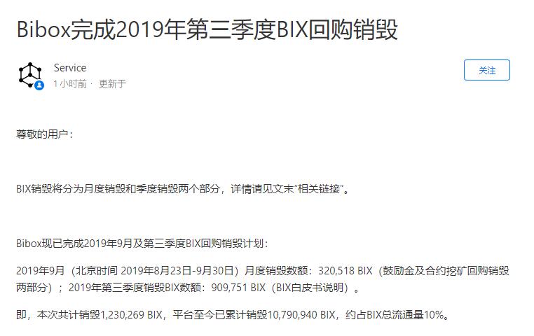 一线 | Bibox第三季度回购销毁超123万BIX,累计销毁占总流通量10%